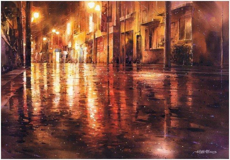 Акварель дождя в картинах восходящей звезды живописи